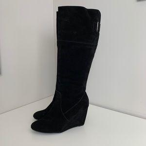 Nine West knee High Wedge Boots Black Size 10